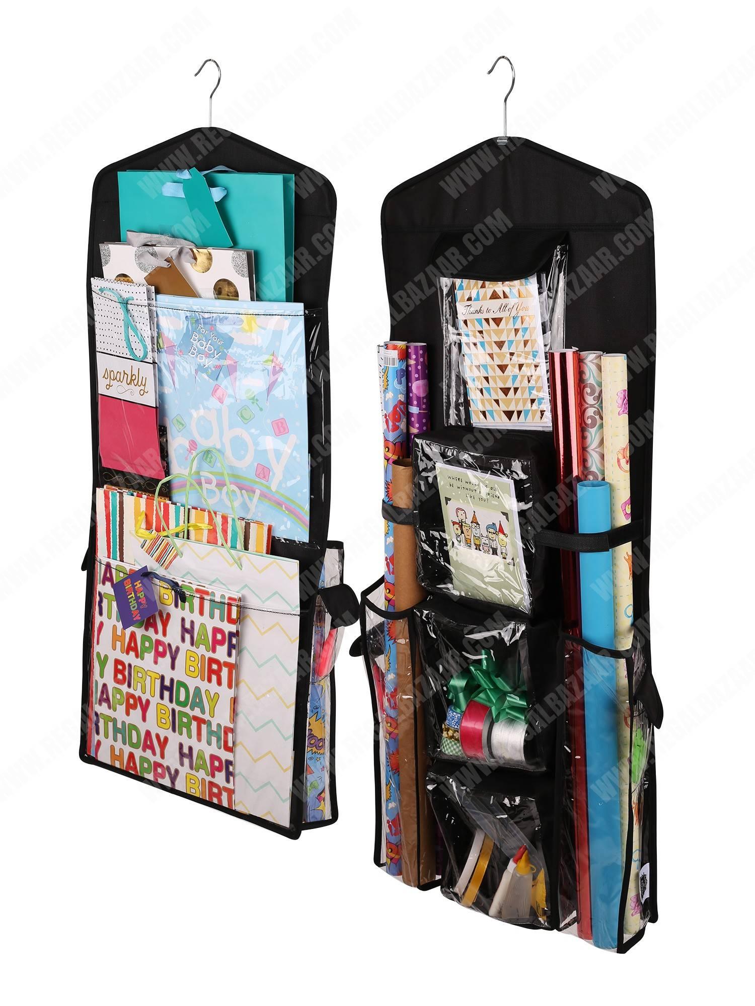 Double Sided Hanging Gift Bag Amp Gift Wrap Organizer Black